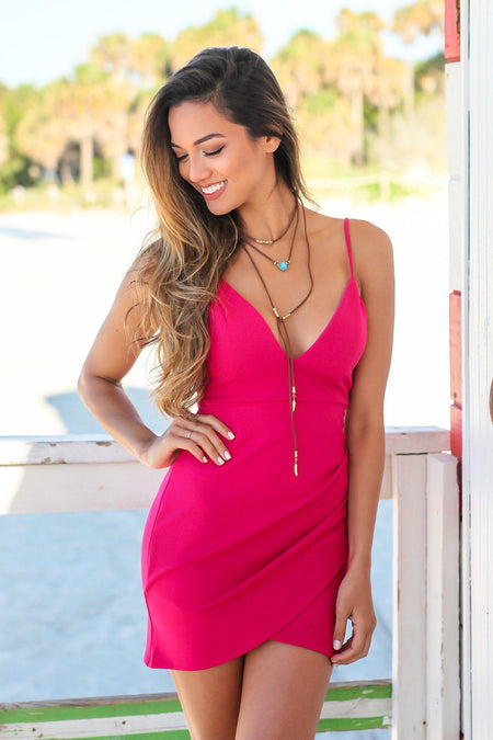 Fuchsia Ruched V-Neck Short Dress