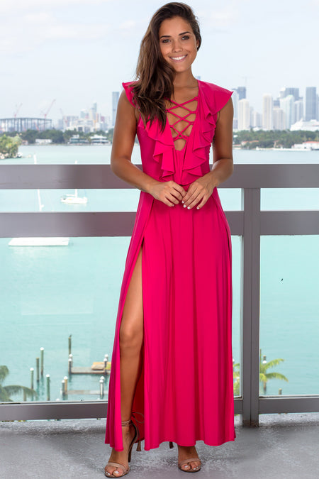 Fuchsia Ruffle Top Maxi Dress with Slits