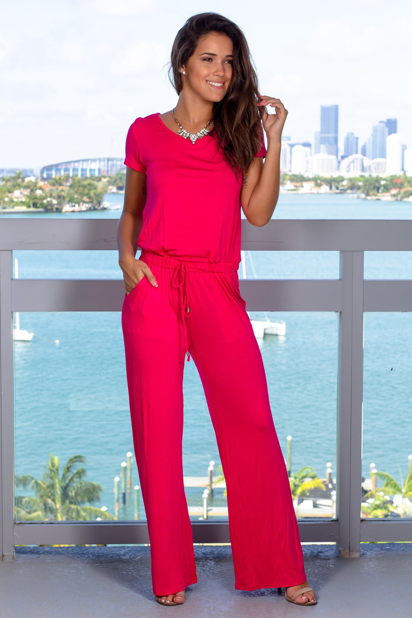 Fuchsia Short Sleeve Jumpsuit