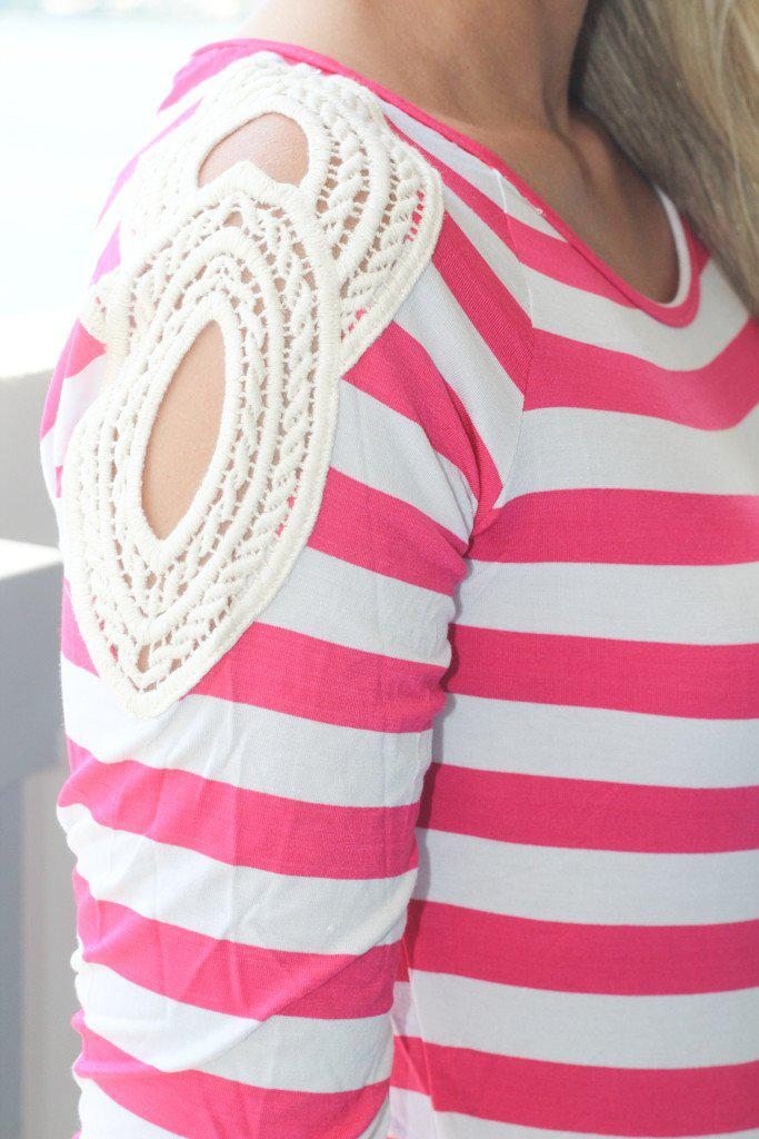 Fuchsia Striped Top With Crochet Shoulder