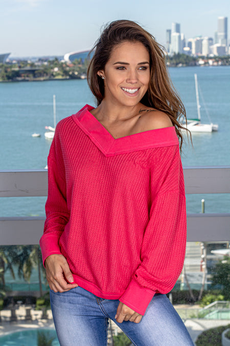 Fuchsia V-Neck Sweater