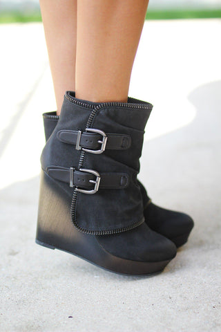 Gemini Black Wedge Booties