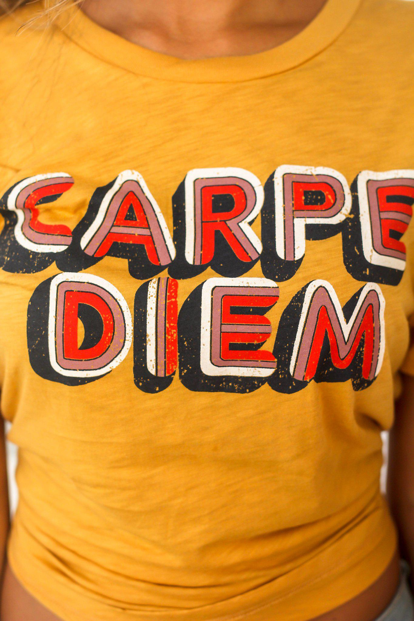 Gold Carpe Diem Top