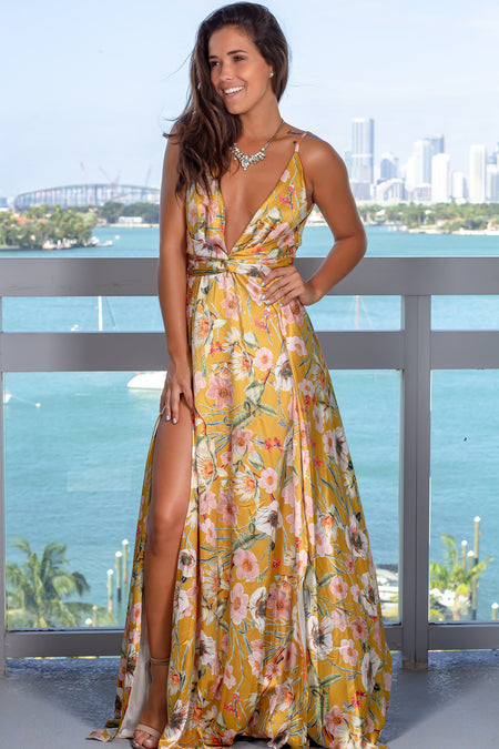 Gold Floral Maxi Dress with Slits