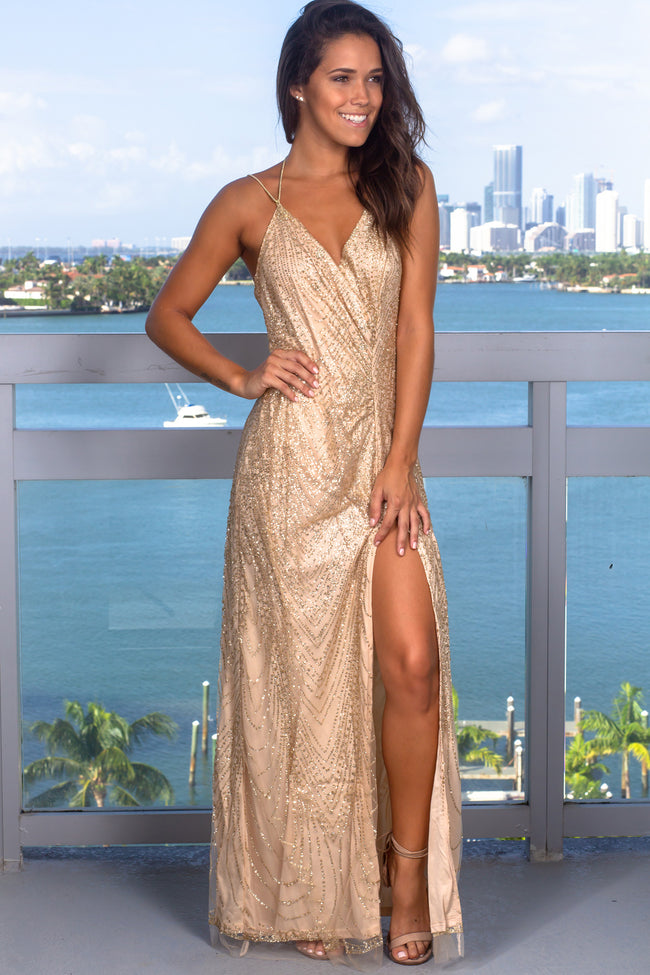 Gold Glitter Maxi Dress with Open Back