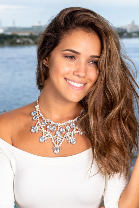 Gold Jeweled Statement Necklace