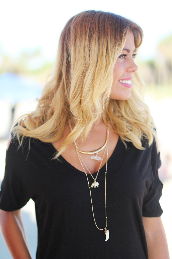 Gold Elephant Layered Necklace