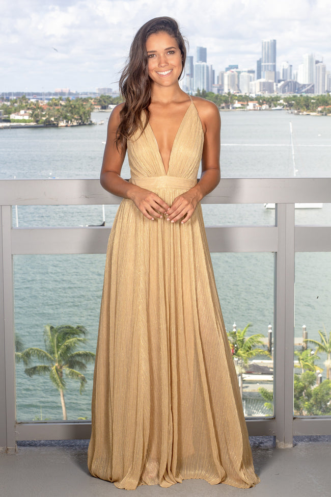 Gold Maxi Dress with Criss Cross Back