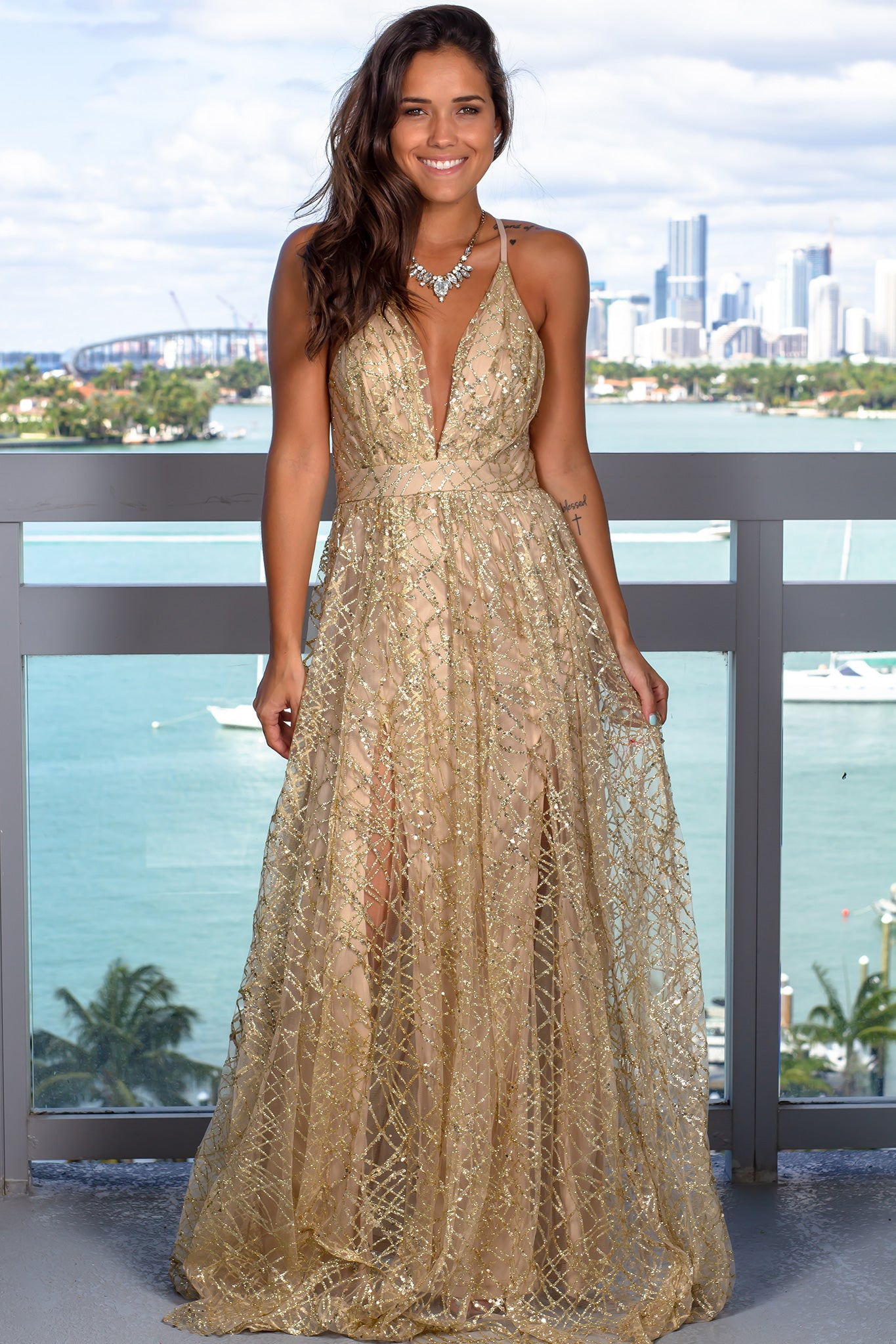 Gold Maxi Dress with Sequins