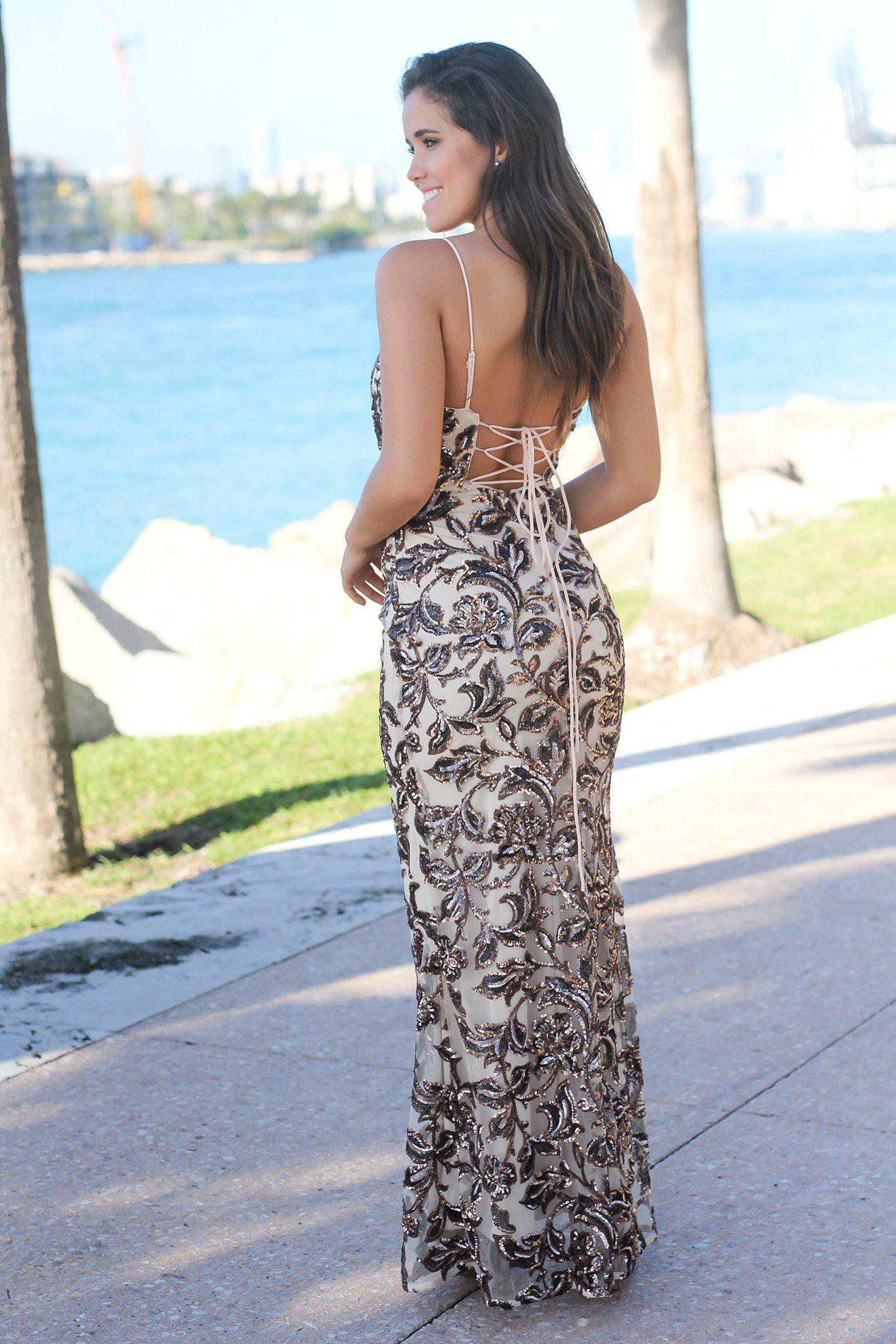Gold Sequin Maxi Dress with Lace Up Back