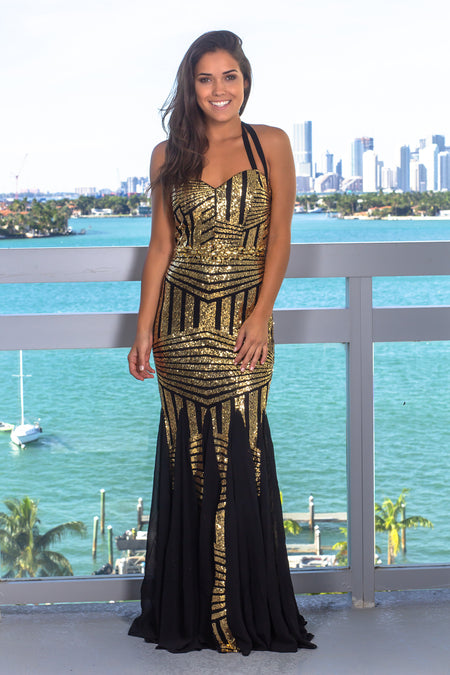 Gold Sequin Strapless Maxi Dress