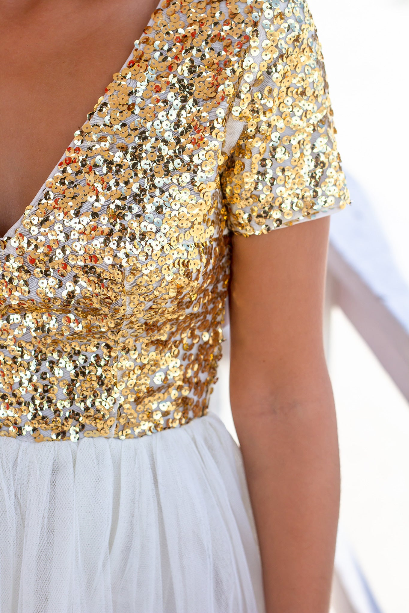 Gold Sequin Top Short Dress