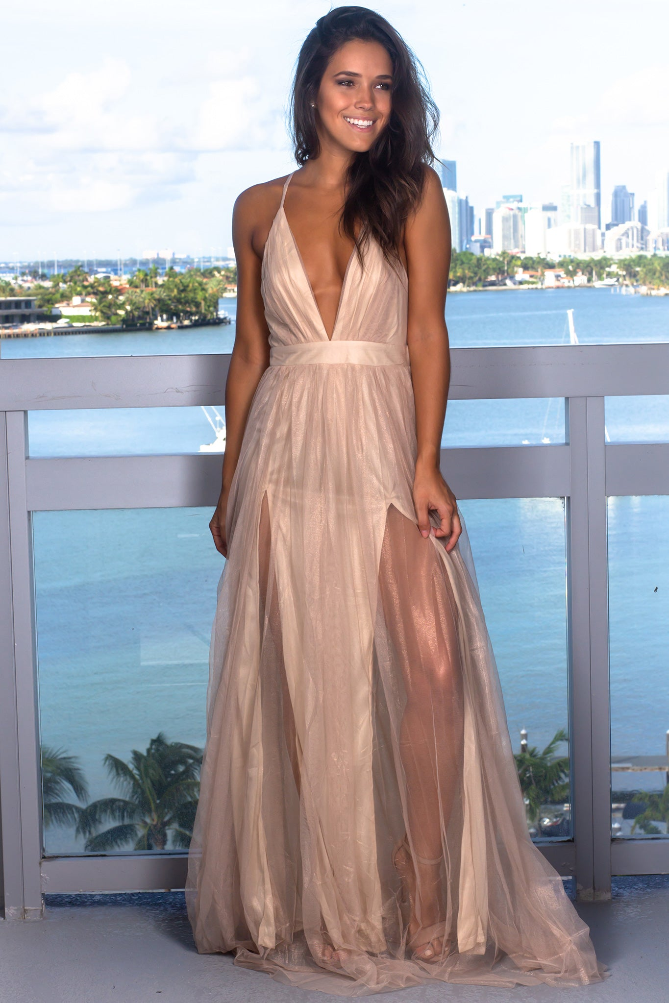 Gold Tulle Maxi Dress