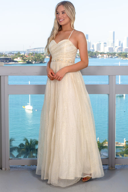Gold Tulle Maxi Dress with Jewel Belt