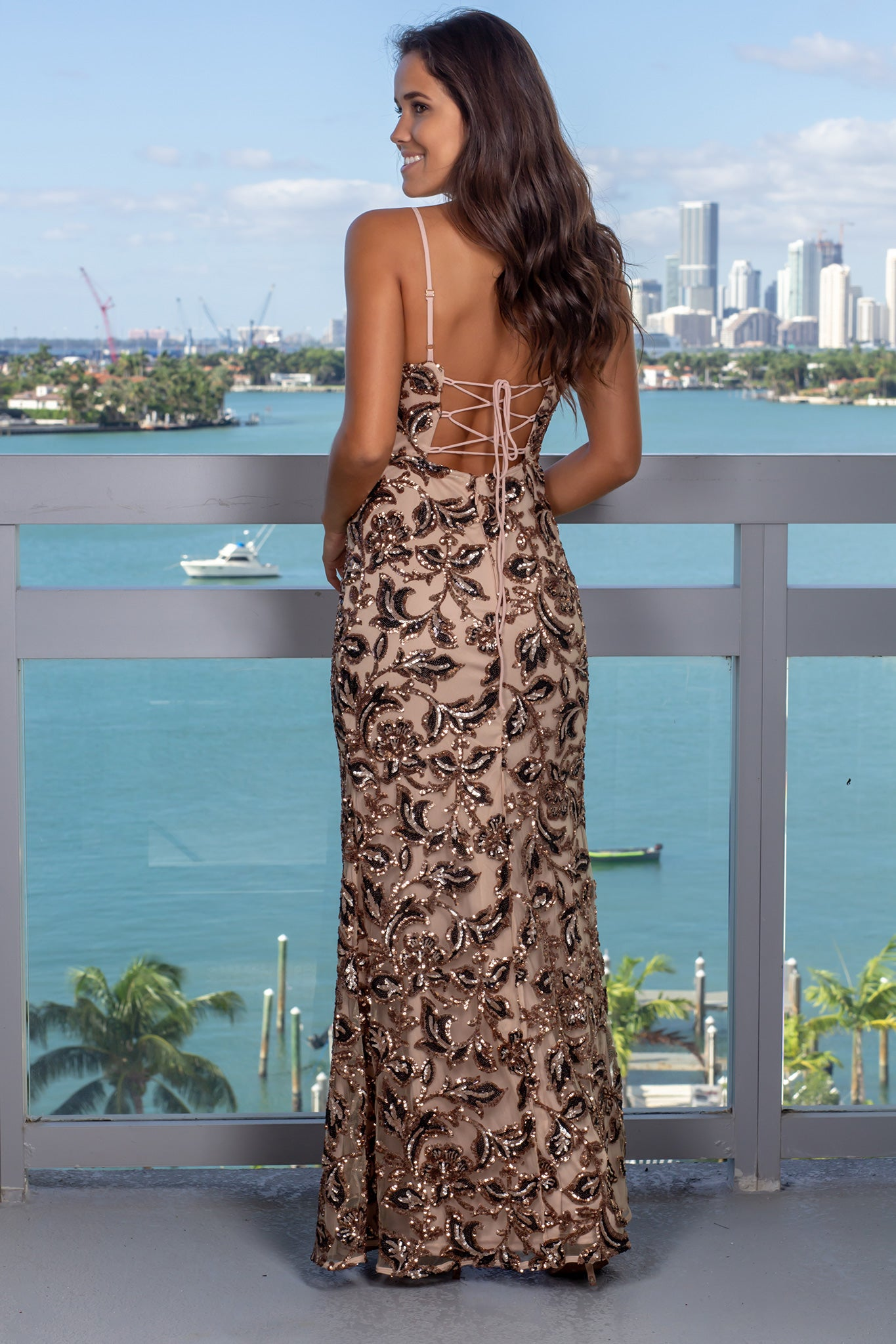 Gold and Black Maxi Dress with Strappy Back