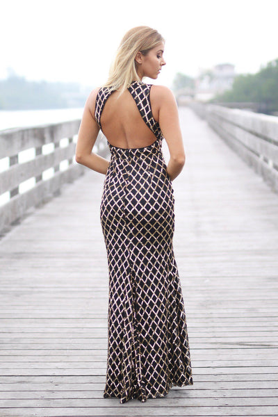 12953d8df1 Rose Gold Sequined Maxi Dress with Open Back and Side Slit | Maxi Dress –  Saved by the Dress