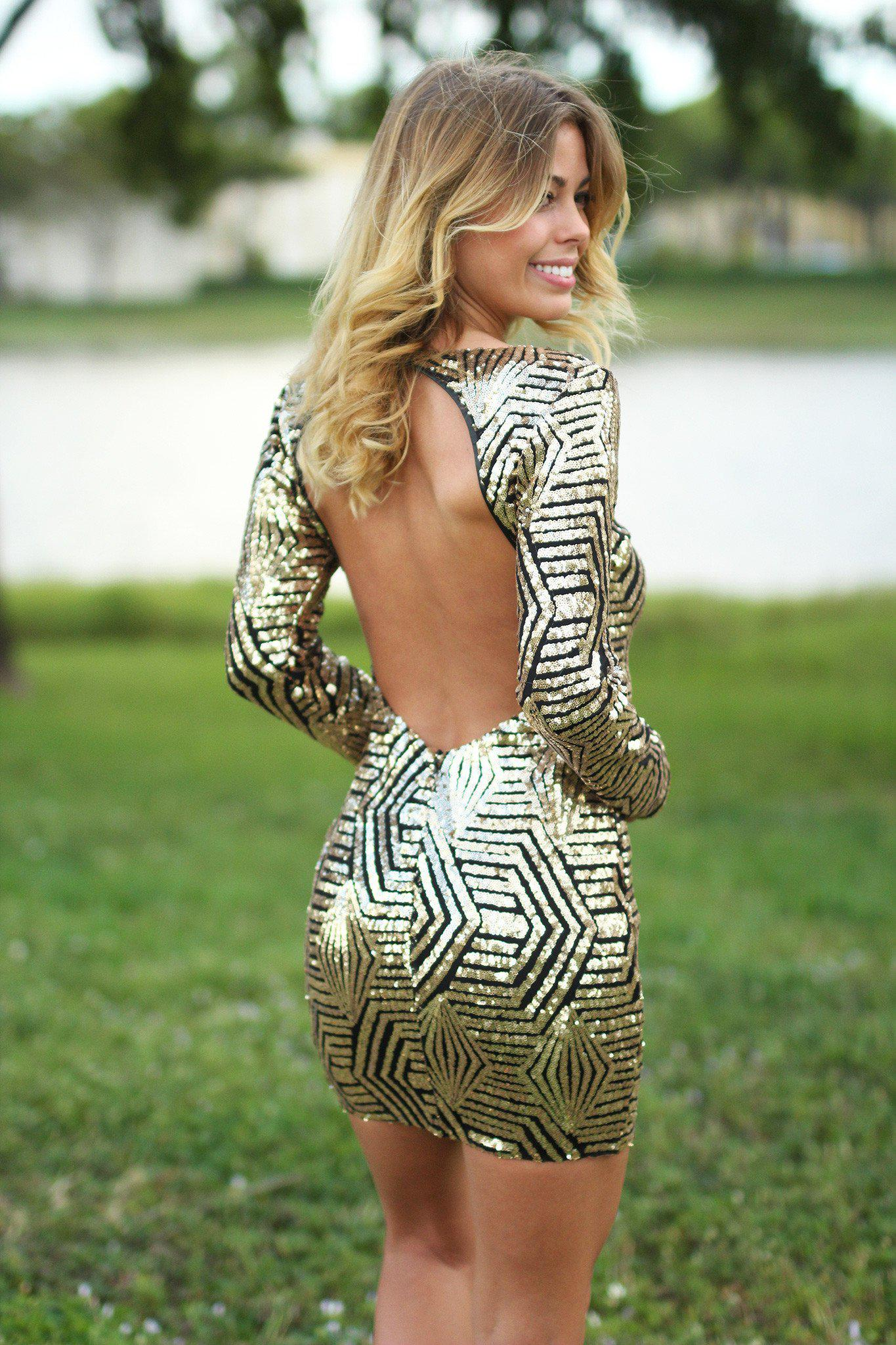 Gold and Black Sequined Short Dress with Open Back