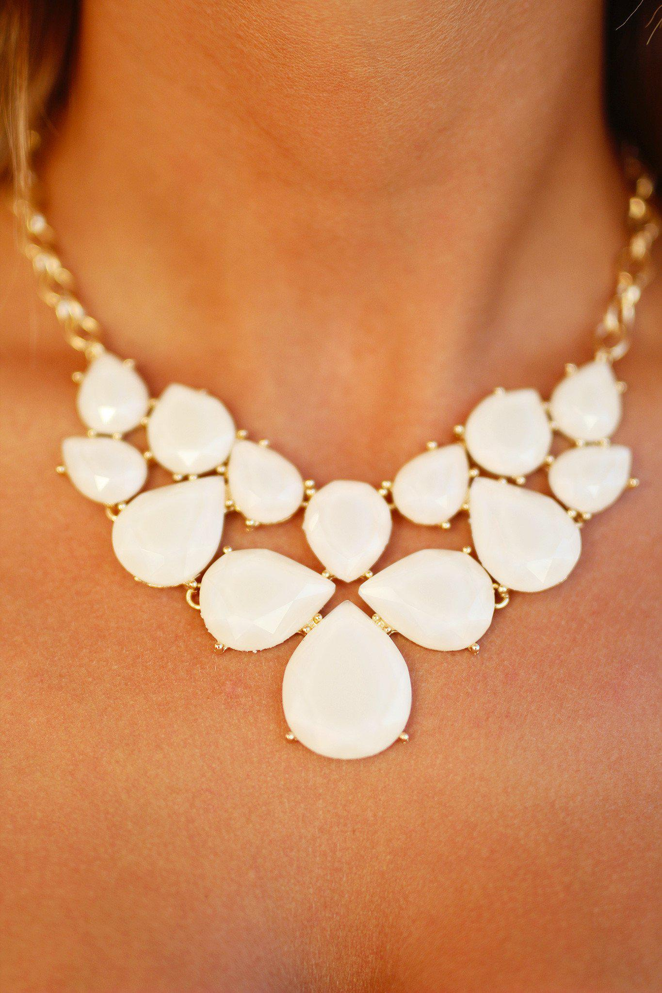 Ivory and Gold Teardrop Necklace