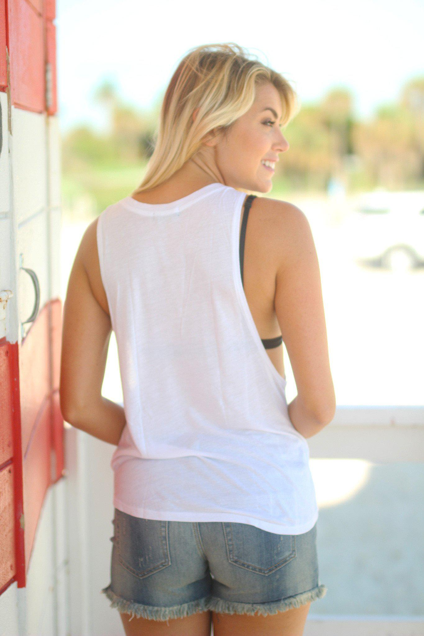 """Good Times and Tan Lines"" White Tank Top"