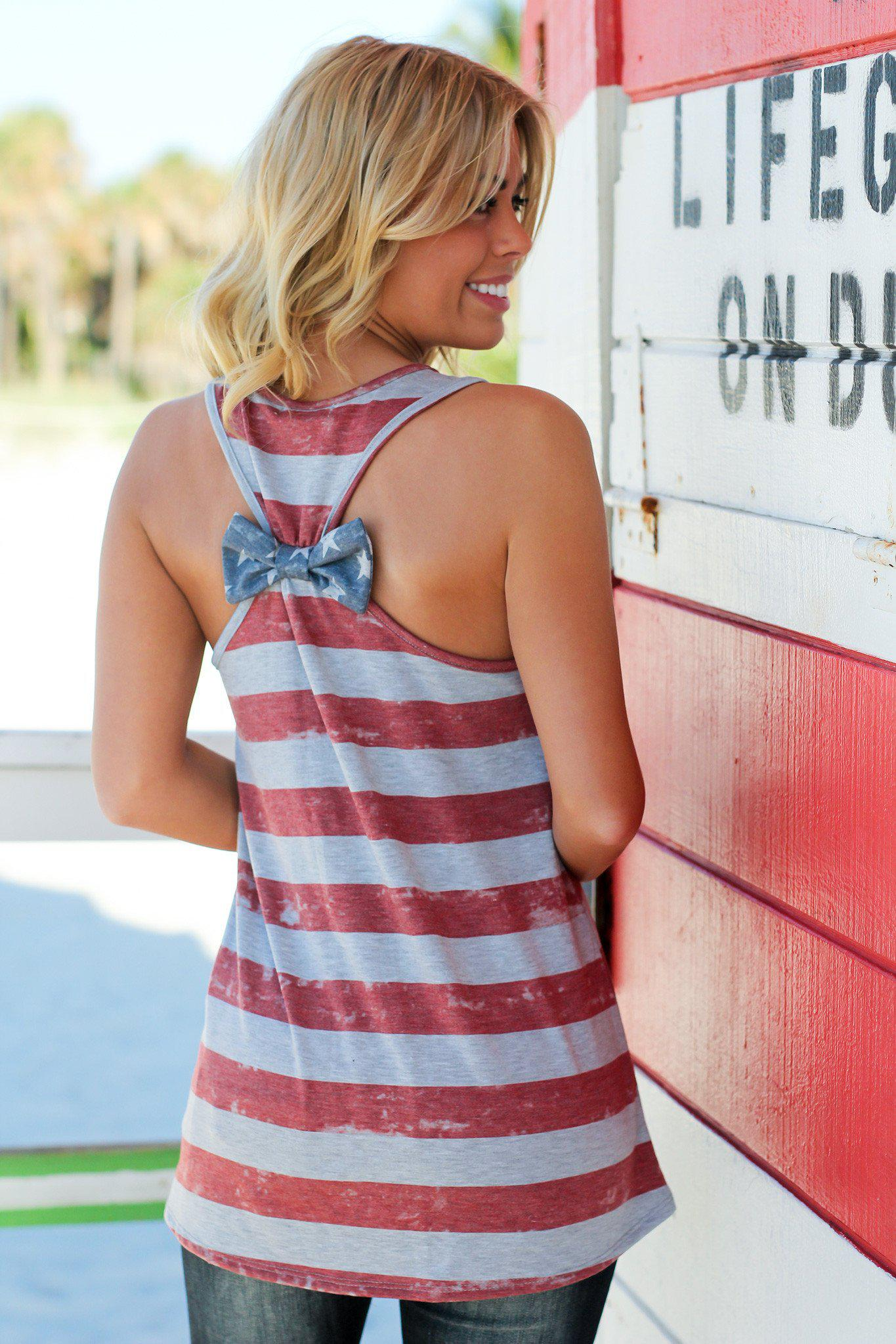 Gray American Flag Top with Bow Detail