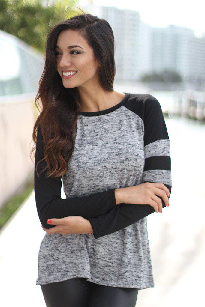 Gray And Black Baseball Tee