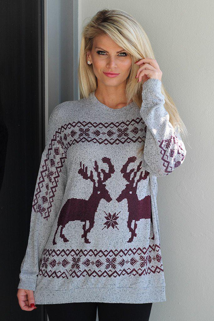 Gray And Burgundy Reindeer Top