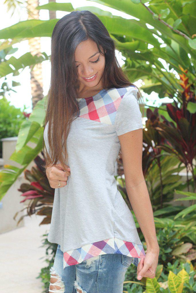 Gray And Plaid Asymmetrical Top