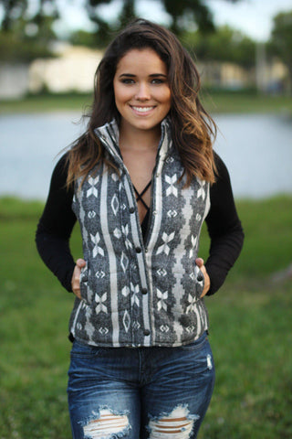 Gray Aztec Vest with Pockets