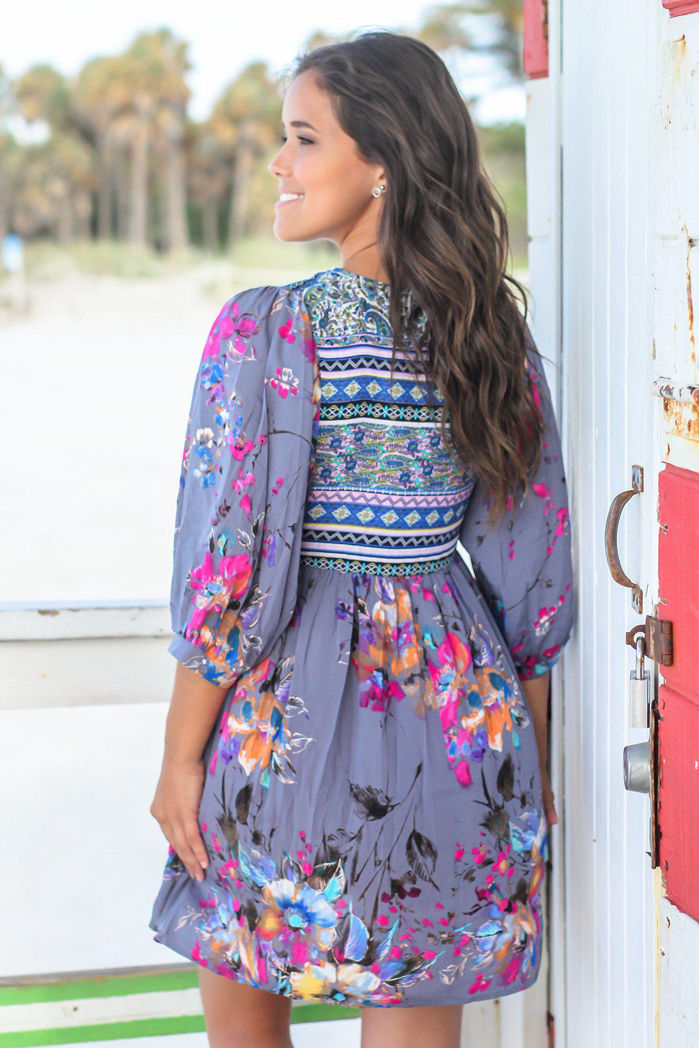 Gray Boho Floral Printed Short Dress