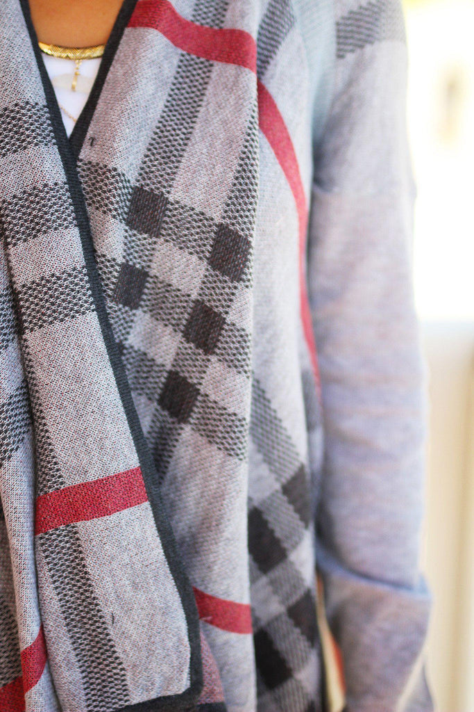 gray plaid print cardigan
