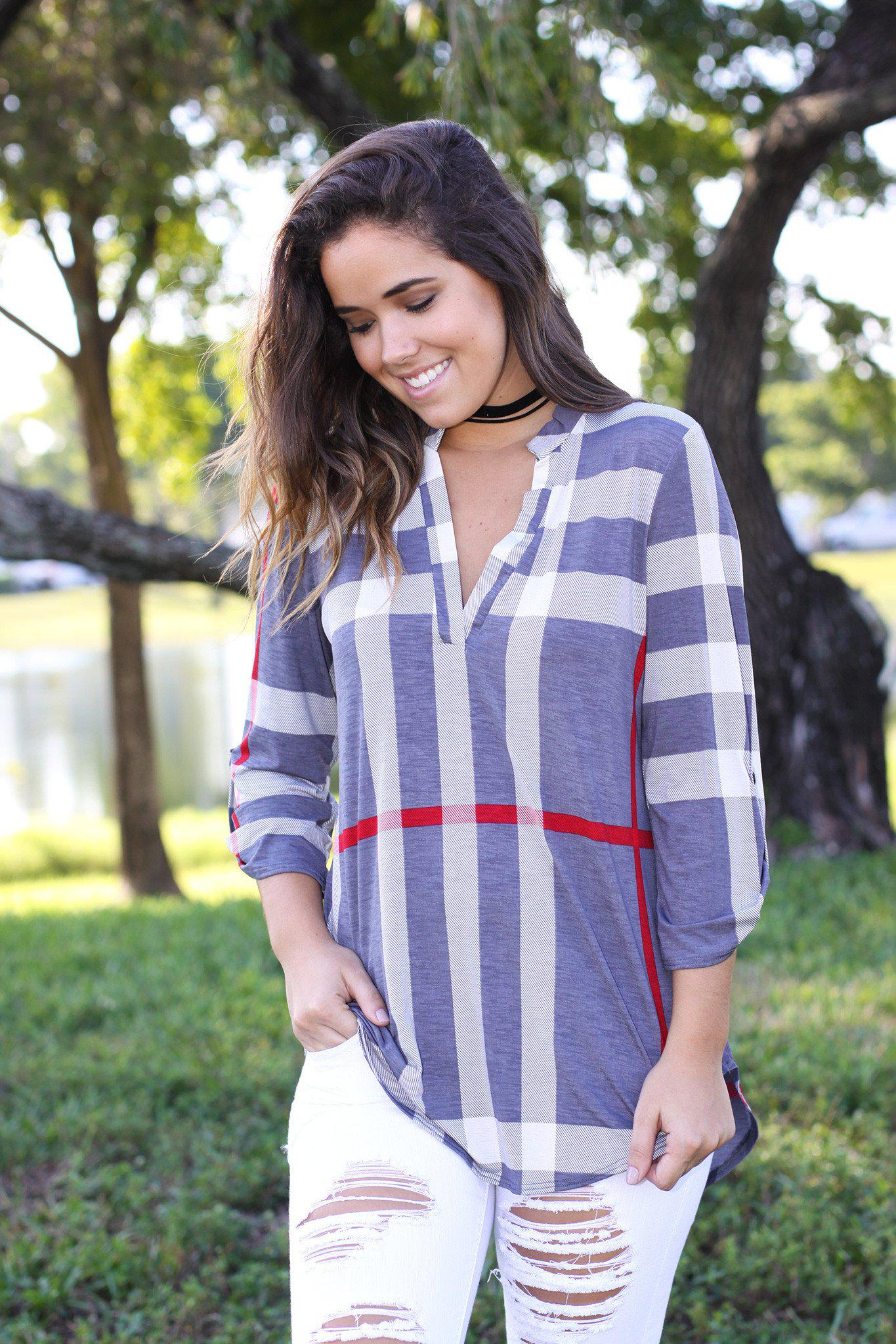 gray check print 3/4 sleeve top