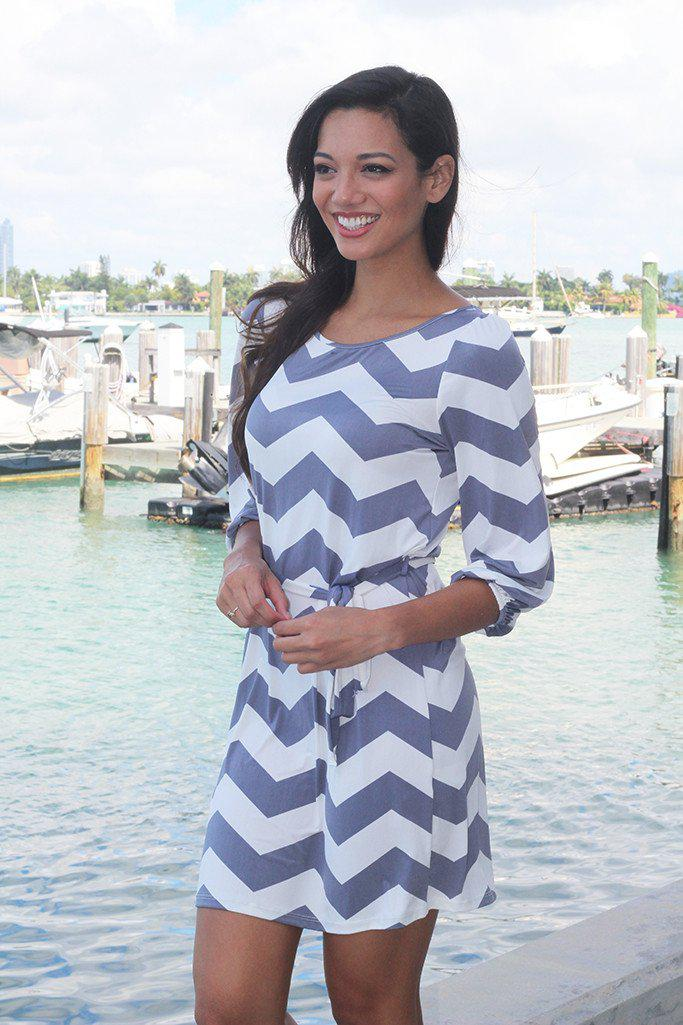 Gray Chevron Short Dress
