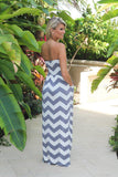 gray and white chevron maxi dress