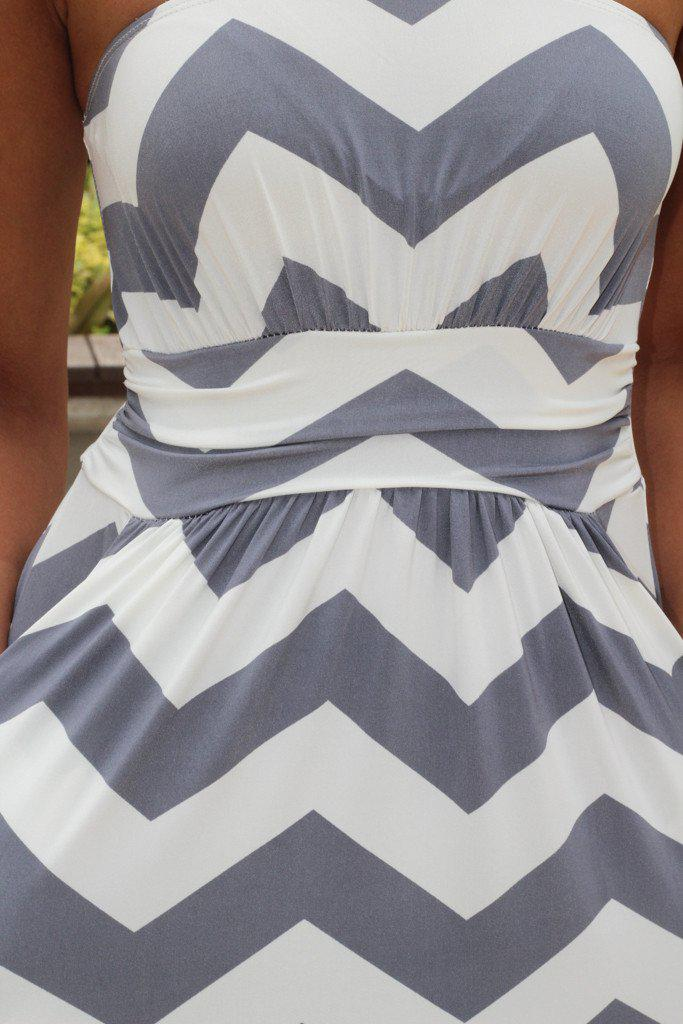 Gray Chevron Jersey Maxi Dress