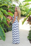 gray chevron jersey long dress