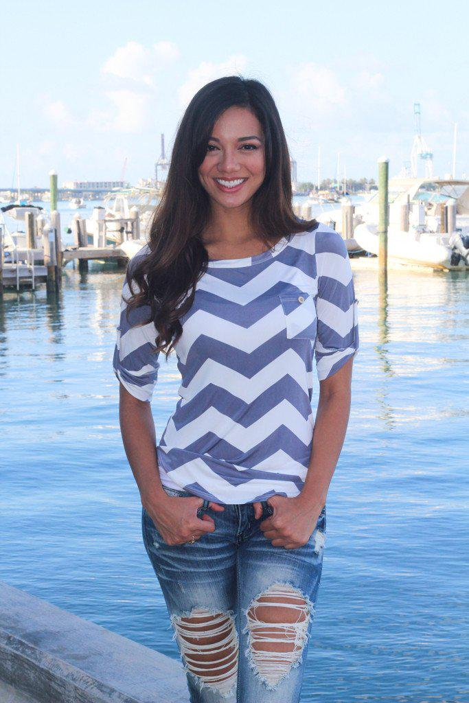 Gray 3/4 Sleeve Chevron Top