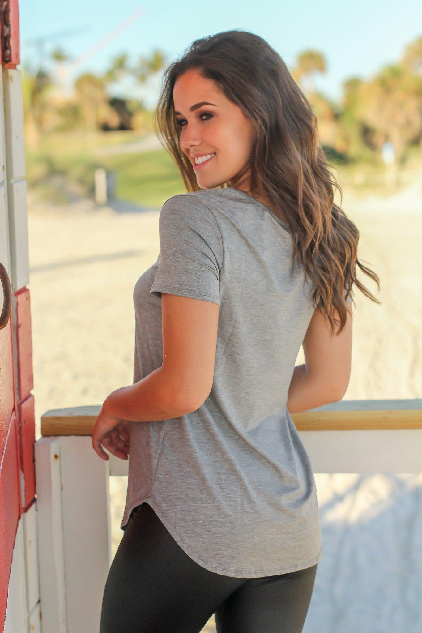 Gray Criss Cross Top with Short Sleeves
