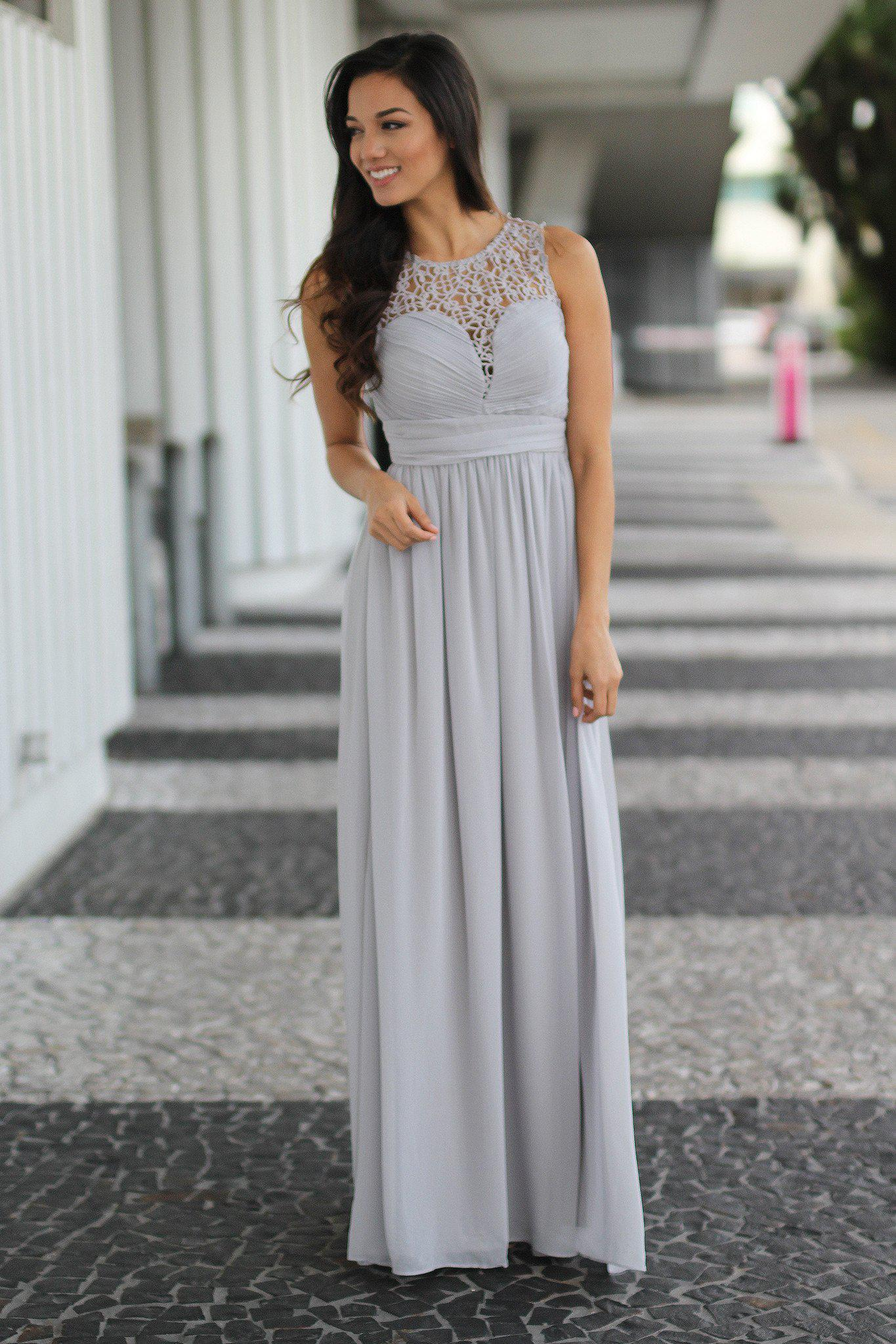 Gray Crochet Maxi Dress