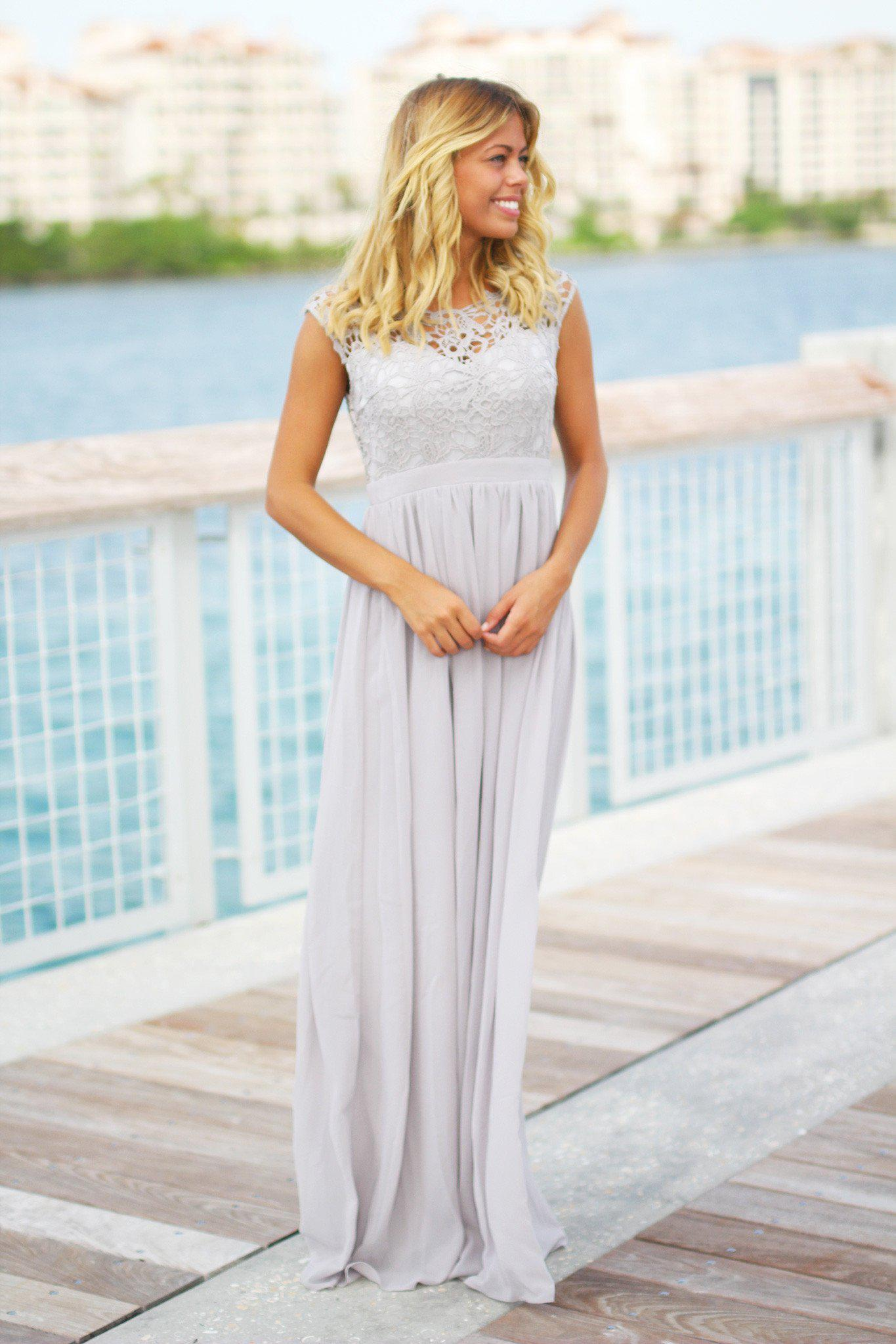 Gray Crochet Maxi Dress with Tulle Back