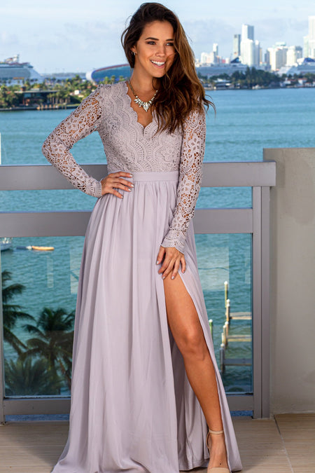 Gray Crochet Maxi Dress with Long Sleeves