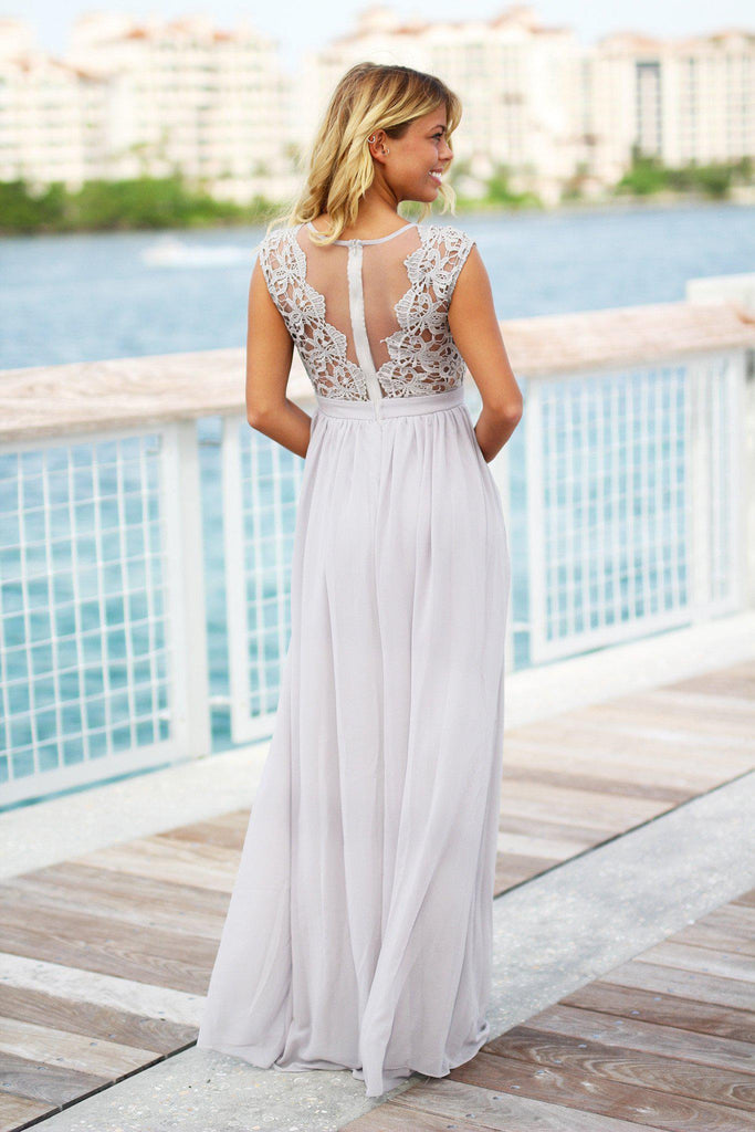 gray tulle back maxi dress