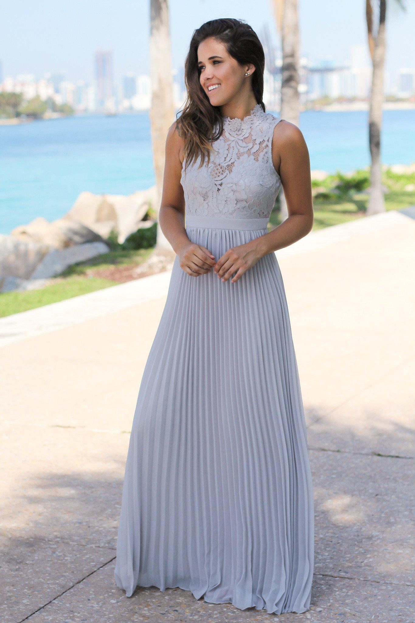 Gray lace maxi dress with pleated skirt bridesmaid dresses gray dress bridesmaid dresses ombrellifo Choice Image