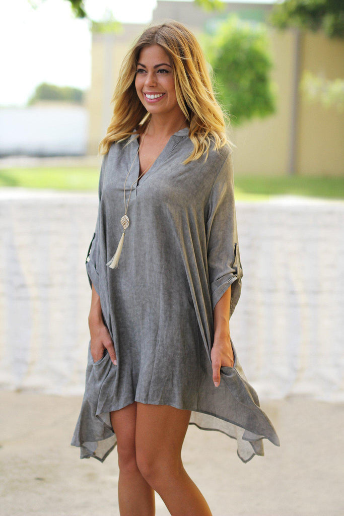 gray 3/4 sleeve tunic
