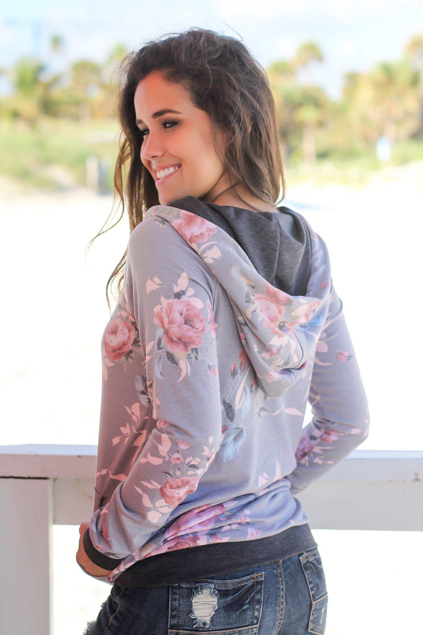 Gray Floral Hoodie with Pocket