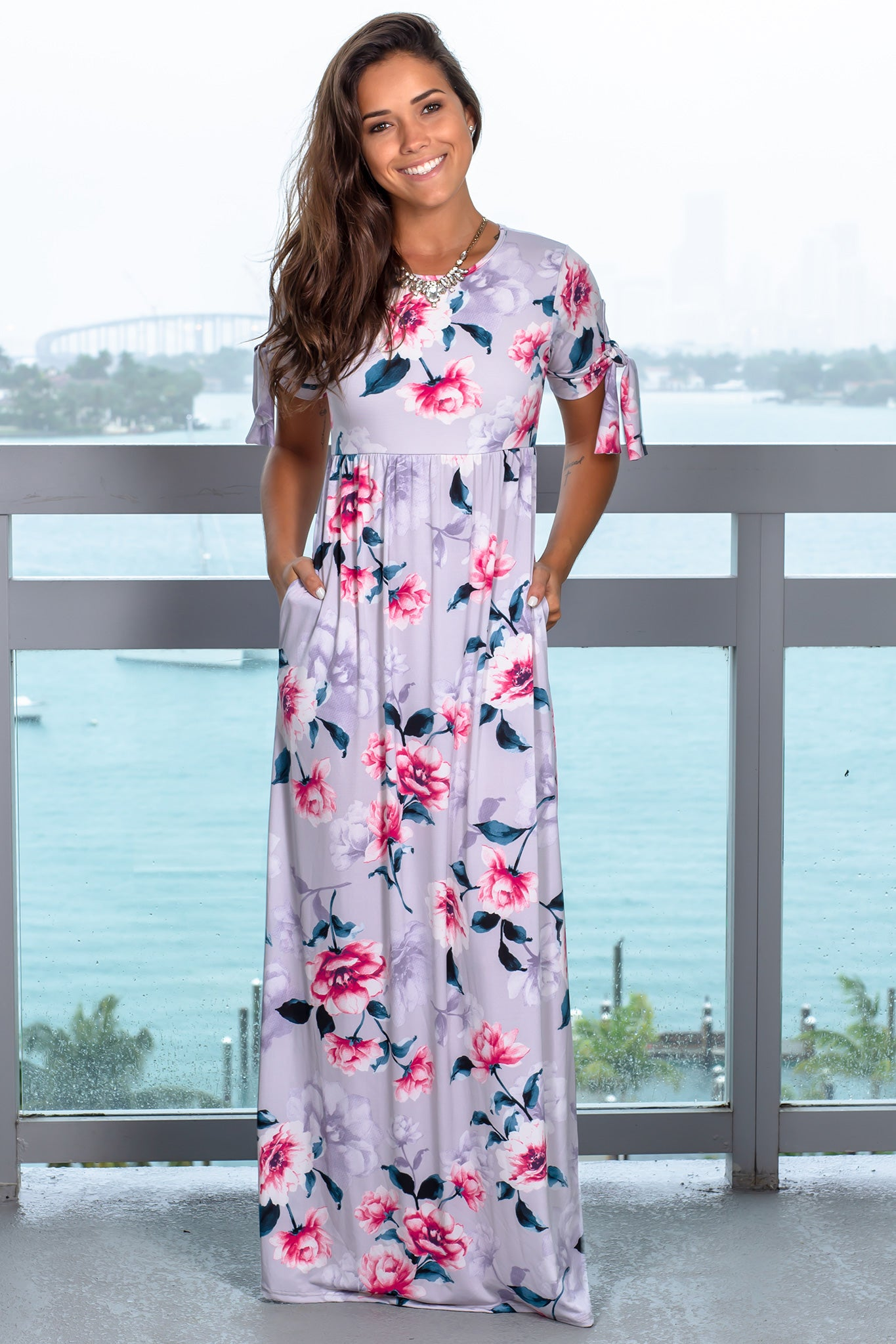 Gray Floral Maxi Dress with Tie Sleeves