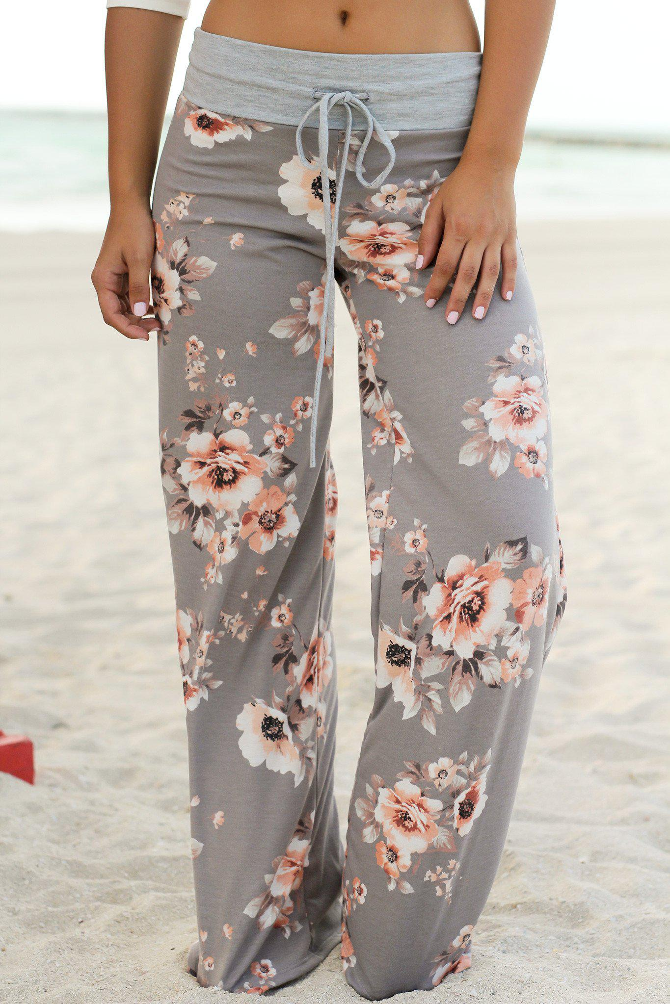 Gray Floral Pants
