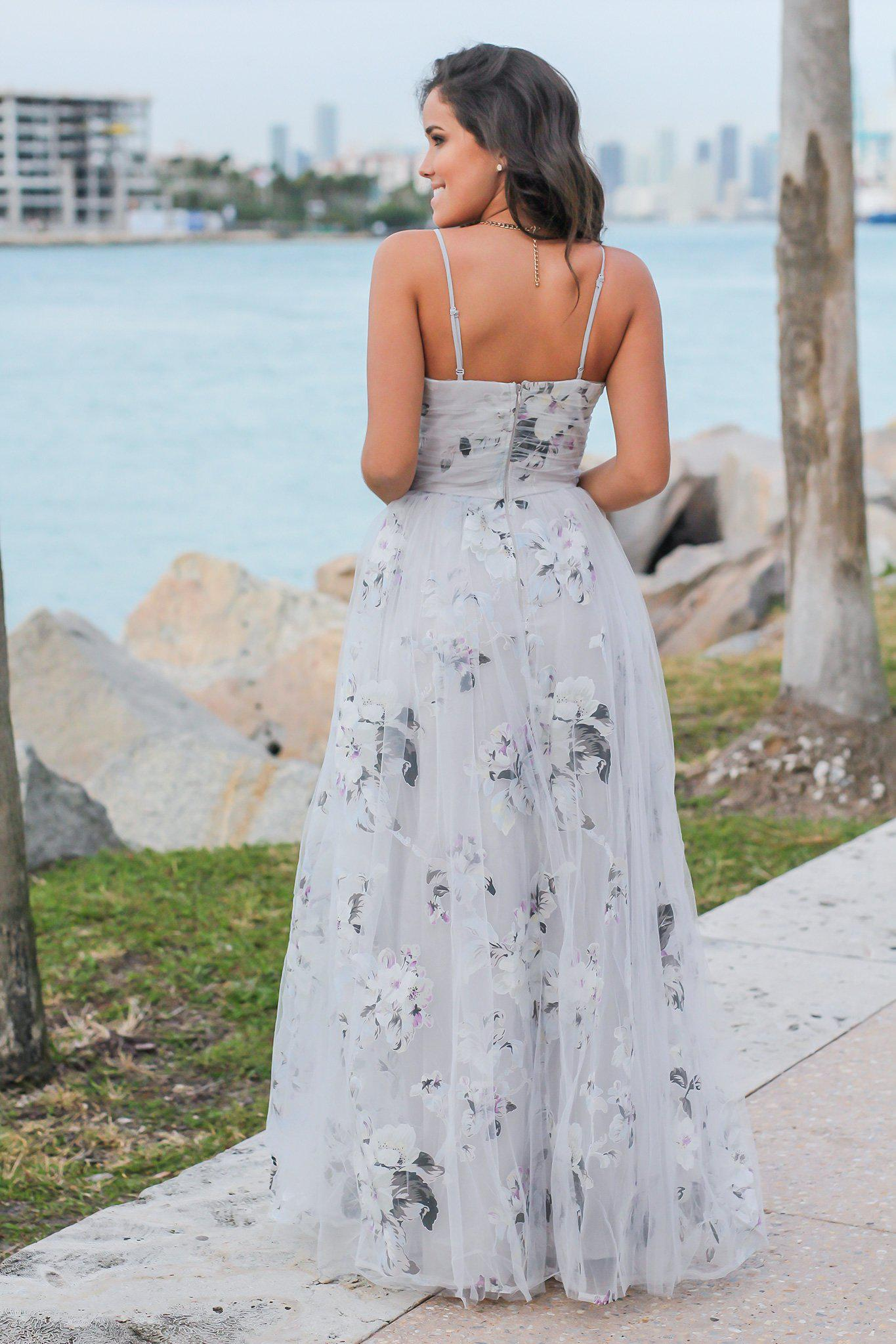 Gray Floral Strapless Maxi Dress with Tulle
