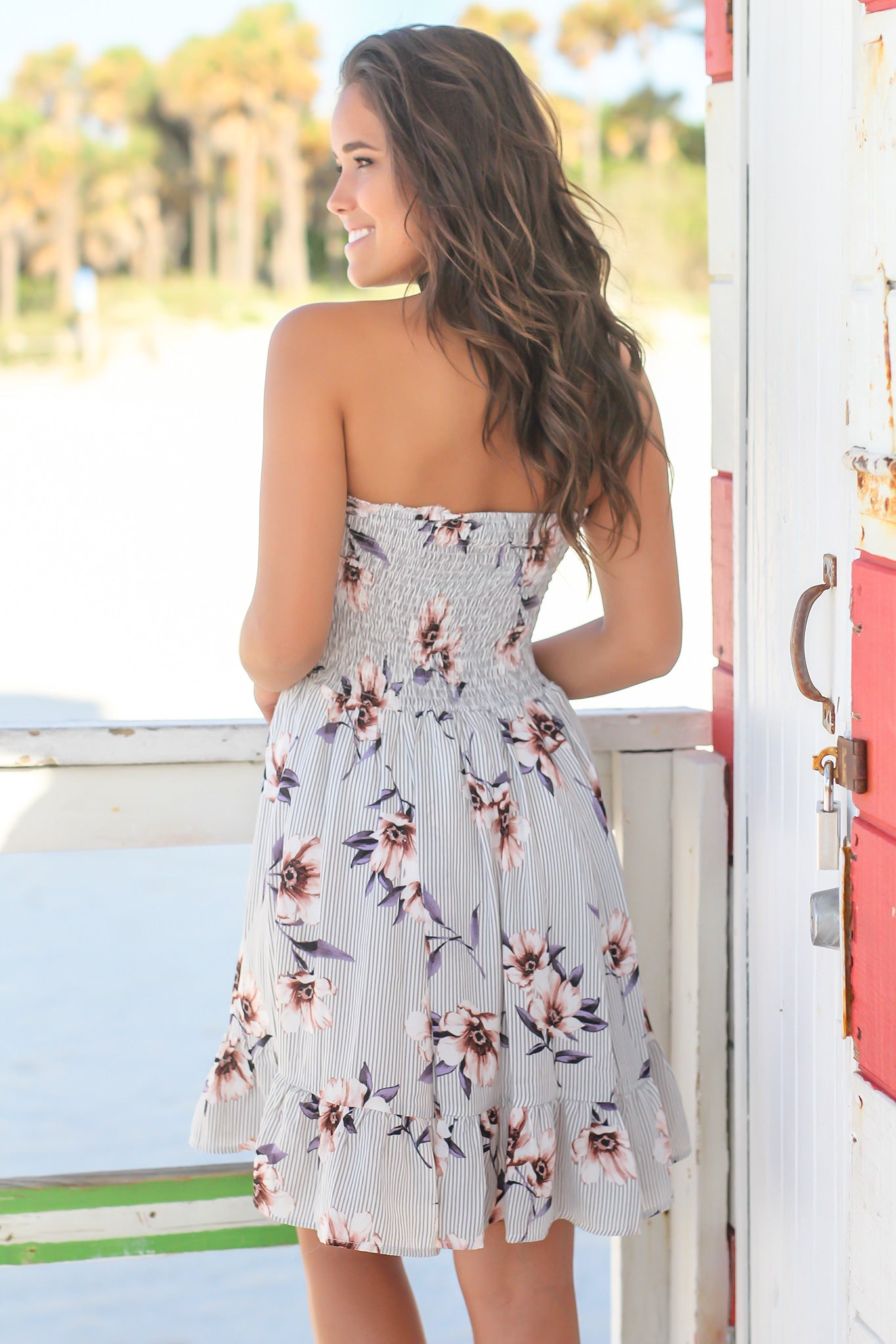 Gray Floral Strapless Short Dress