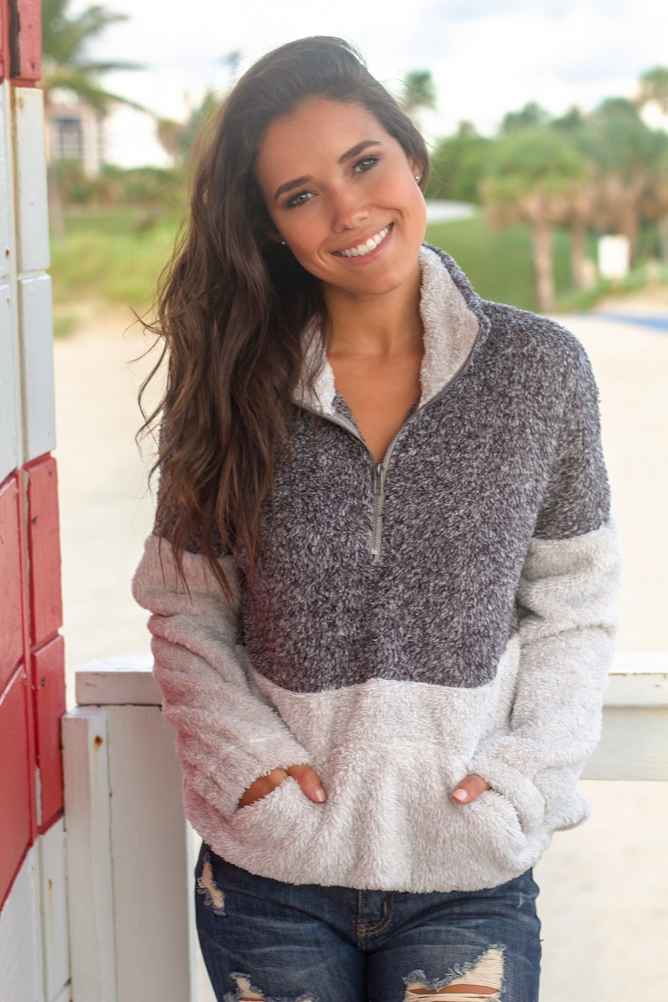 Gray Fuzzy Pullover Sweater