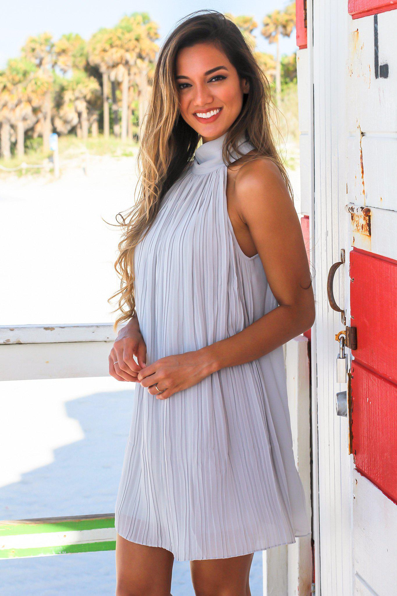 Gray High Neck Pleated Dress